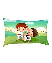 Stybuzz Karate Kids Baby Pillow Cover- Multicolour