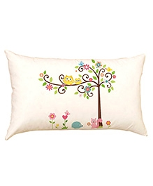 Stybuzz Owls On Tree Baby Pillow Cover - Cream