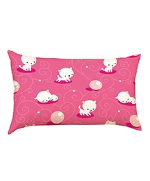 Stybuzz White Kitty Baby Pillow Cover - Pink