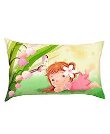 Stybuzz Cute Girl With Butterfly Baby Pillow Cover - Multicolour