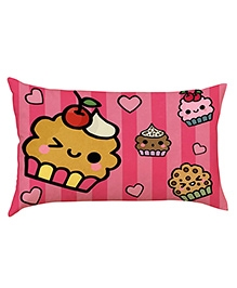 Stybuzz Cute Cupcakes Baby Pillow Cover - Pink