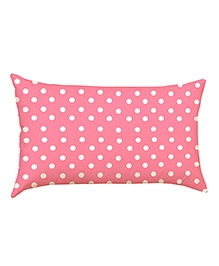 Stybuzz Polka Dots Baby Pillow Cover - Pink