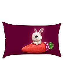 Stybuzz Bunny With Carrot Baby Pillow Cover - Purple