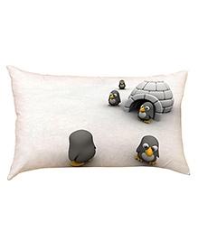 Stybuzz Little Penguins Baby Pillow Cover - Cream