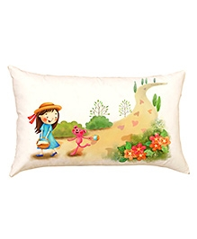 Stybuzz Kids With Pink Bear Baby Pillow Cover - Cream