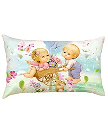Stybuzz Kids In Flower Wagon Baby Pillow Cover - Multicolour