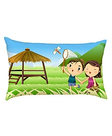Stybuzz Kids Catching Dragonfly Baby Pillow Cover - Multicolour
