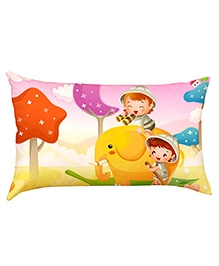 Stybuzz Kids On Elephant Ride Baby Pillow Cover - Multicolour