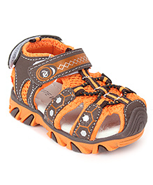 Cute Walk Floater Sandals With Velcro Strap - Orange And Brown