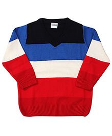 Babyhug Full Sleeves Sweater Stripes Pattern - Red