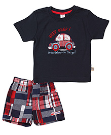 ToffyHouse Half Sleeves T-Shirt And Shorts Car Embroidery - Navy