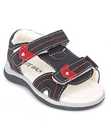 Cute Walk Floater Sandals With Velcro Closure - Black