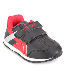 Cute Walk Sports Shoes With Velcro Closure - Black And Red