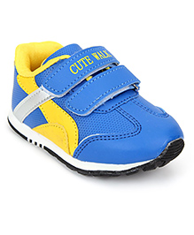 Cute Walk Sports Shoes With Velcro Closure - Blue And Yellow