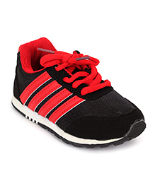 Cute Walk Sports Shoes Lace Tie-Up - Red And Black