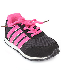Cute Walk Sports Shoes Lace Tie-Up - Pink And Black