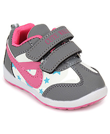 Cute Walk Sports Shoes Velcro Closure - Grey And Pink