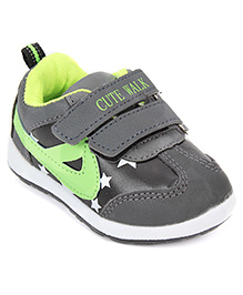 Cute Walk Sports Shoes Velcro Closure - Grey And Lemon Yellow