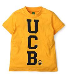 United Colors of Benetton Half Sleeves T-Shirt - Dark Yellow