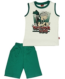 Purple Sleeveless T-Shirt And Shorts Most Wanted Print - Green