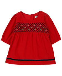 Beebay Smocked Corduroy Dress - Red