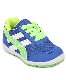 Cute Walk Sports Shoes Lace Tie-Up Stars Print - Blue Green