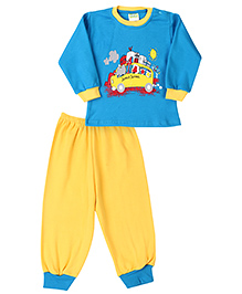 Babyhug Full Sleeves T-Shirt And Legging Set Caption Print - Blue & Yellow