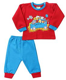 Babyhug Full Sleeves T-Shirt And Legging Set Caption Print - Blue Red