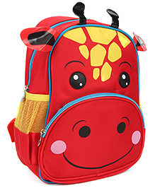 Bags & Baggage School Bag Giraffe Face Design Red - Height 11 Inches
