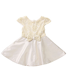 Beebay Cap Sleeves Party Dress Bow Applique - Golden