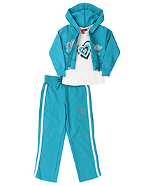 Mickey T-Shirt Crop Jacket And Track Pant Set Love Embroidery - Blue