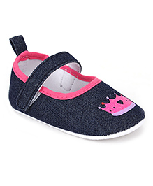 Cute Walk Booties With Velcro Strap Crown Print - Navy Blue