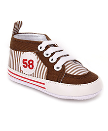 Cute Walk Shoes Style Booties Stripes - Brown