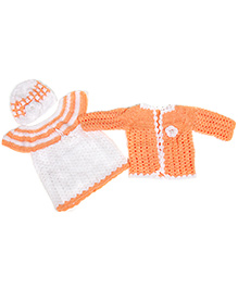 The Original Knit Frock Shrug And Cap - Peach & White