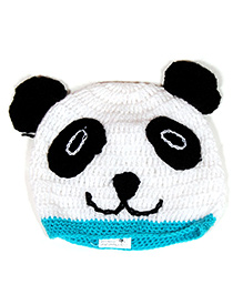 The Original Knit Teddy Cap - White And Blue