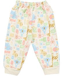 Pink Rabbit Baby Pajama Animal Print - Cream
