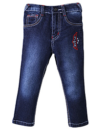 Babyhug Full Length Denim Jeans Star Embroidery - Blue