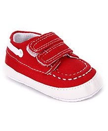 Cute Walk Shoes Style Booties With Velcro Closure - Red