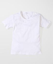 Kanvin Half Sleeves Self Stripe Design Vest - Off White