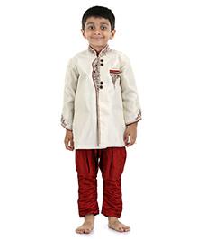 Babyhug Full Sleeves Kurta And Jodhpuri Breeches Bead Detailing - Cream Maroon