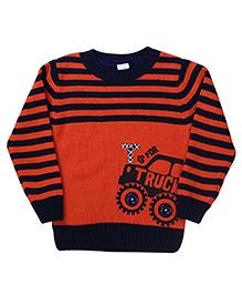 Babyhug Full Sleeves Sweater Truck Print - Orange And Navy