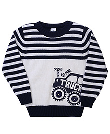 Babyhug Full Sleeves Sweater Truck Print - Off White And Navy