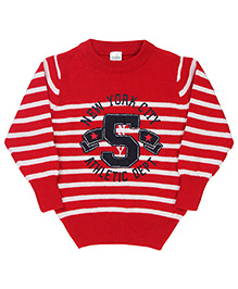 Babyhug Striped Pullover Sweater 5 Patch - Red
