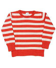 Babyhug Striped Sweater - Orange White