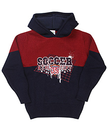 Babyhug Hoodie Sweater Soccer Embroidery - Navy Maroon