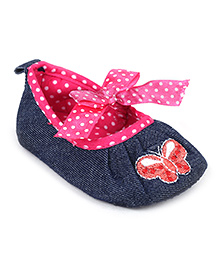 Cute Walk Slip-On Style Booties Butterfly Patch - Navy Blue And Pink