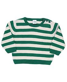 Babyhug Striped Sweater - Green Off White