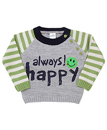 Babyhug Pullover Sweater Always Happy Print - Green Grey