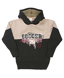 Babyhug Hoodie Sweater Soccer Embroidery - Cream Grey