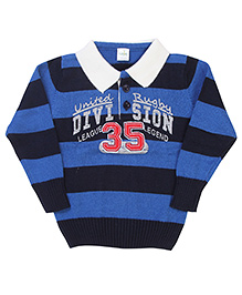 Babyhug Striped Collar Sweater - Royal Blue And Navy